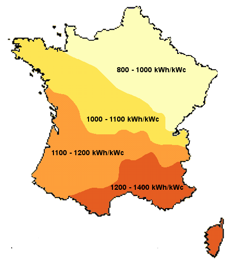 Carte de l'ensoleillement en France