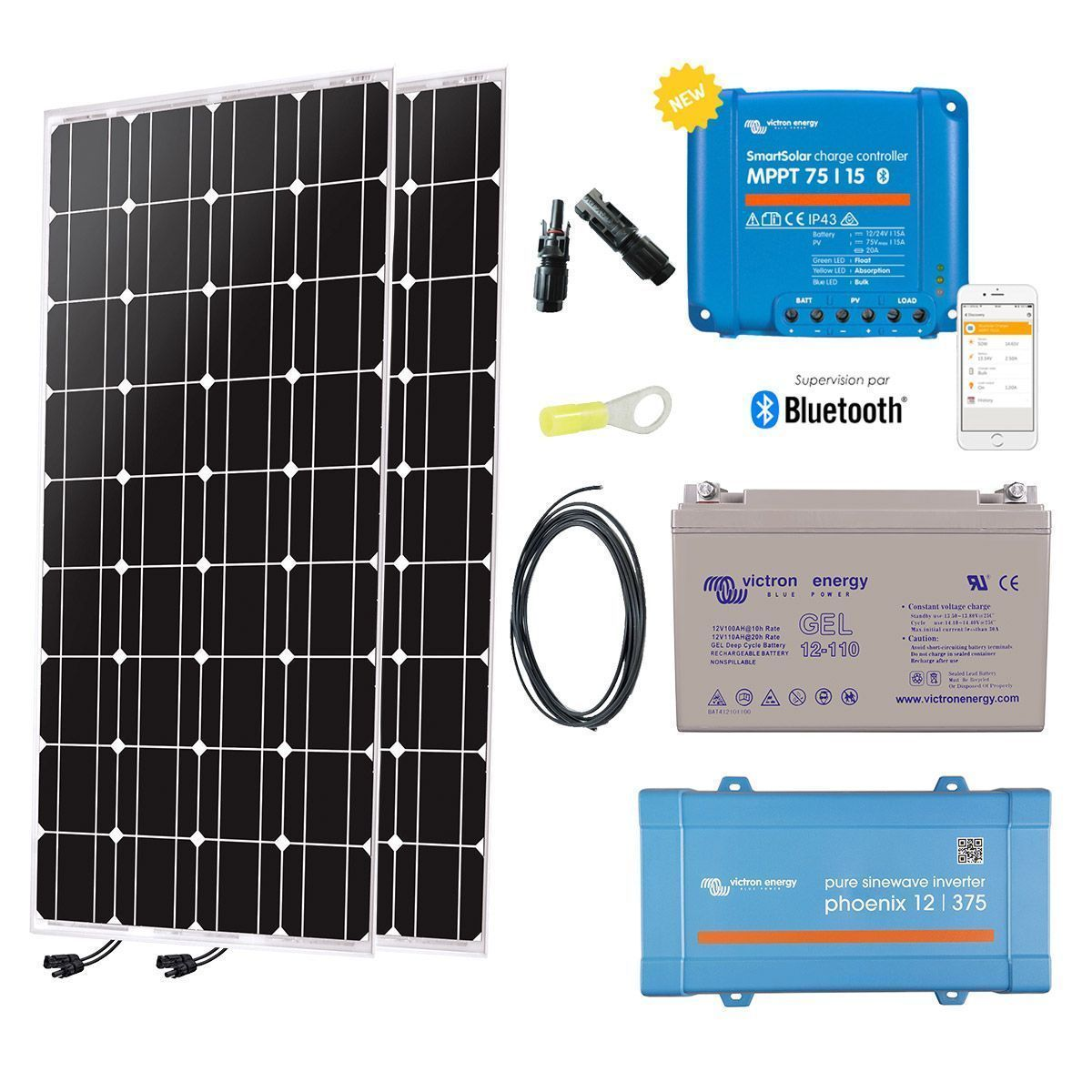 Kit solaire autonome 200W + convertisseur 230V a2374e2ffd2f