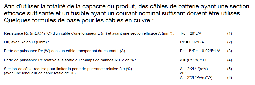 calcul section de cable