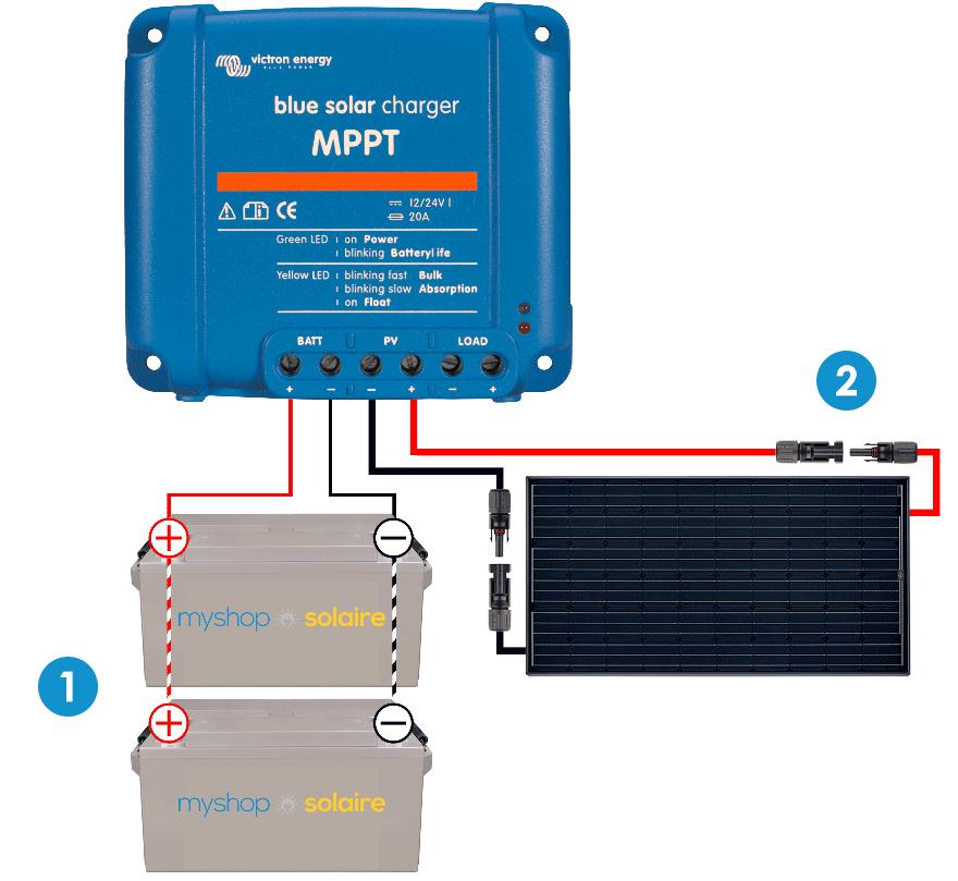 4.2  Branchement du régulateur sur un parc batterie en 12V e23ed1c8bab3