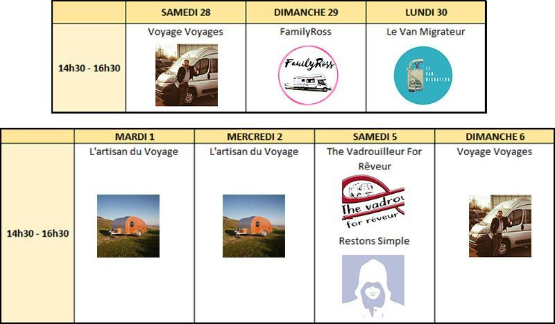 Planning horaires influenceurs