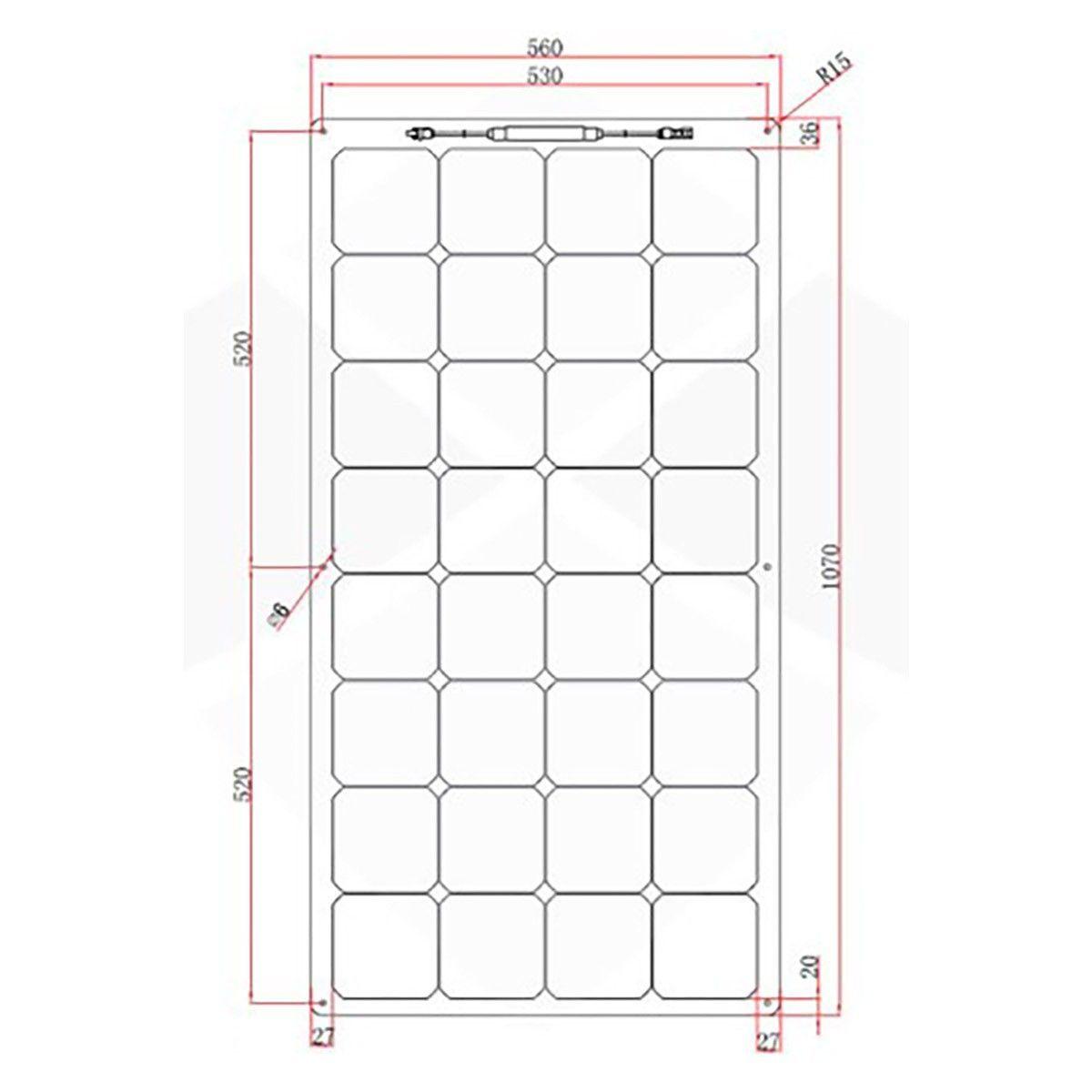 panneau solaire 110w souple semi flexible cellules sunpower etfe. Black Bedroom Furniture Sets. Home Design Ideas
