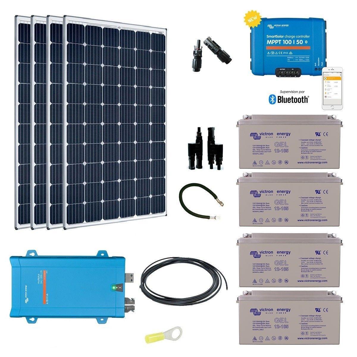 Kit solaire 1200w autonome hybride - Kit solaire autonome 1000w ...