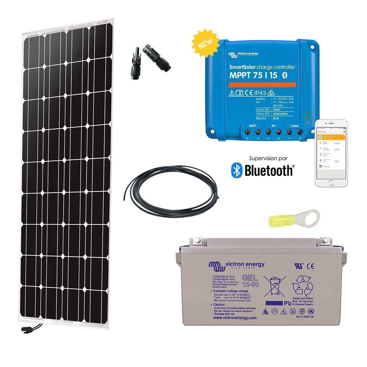 kit solaire 150w autonome 12v monocristallin. Black Bedroom Furniture Sets. Home Design Ideas