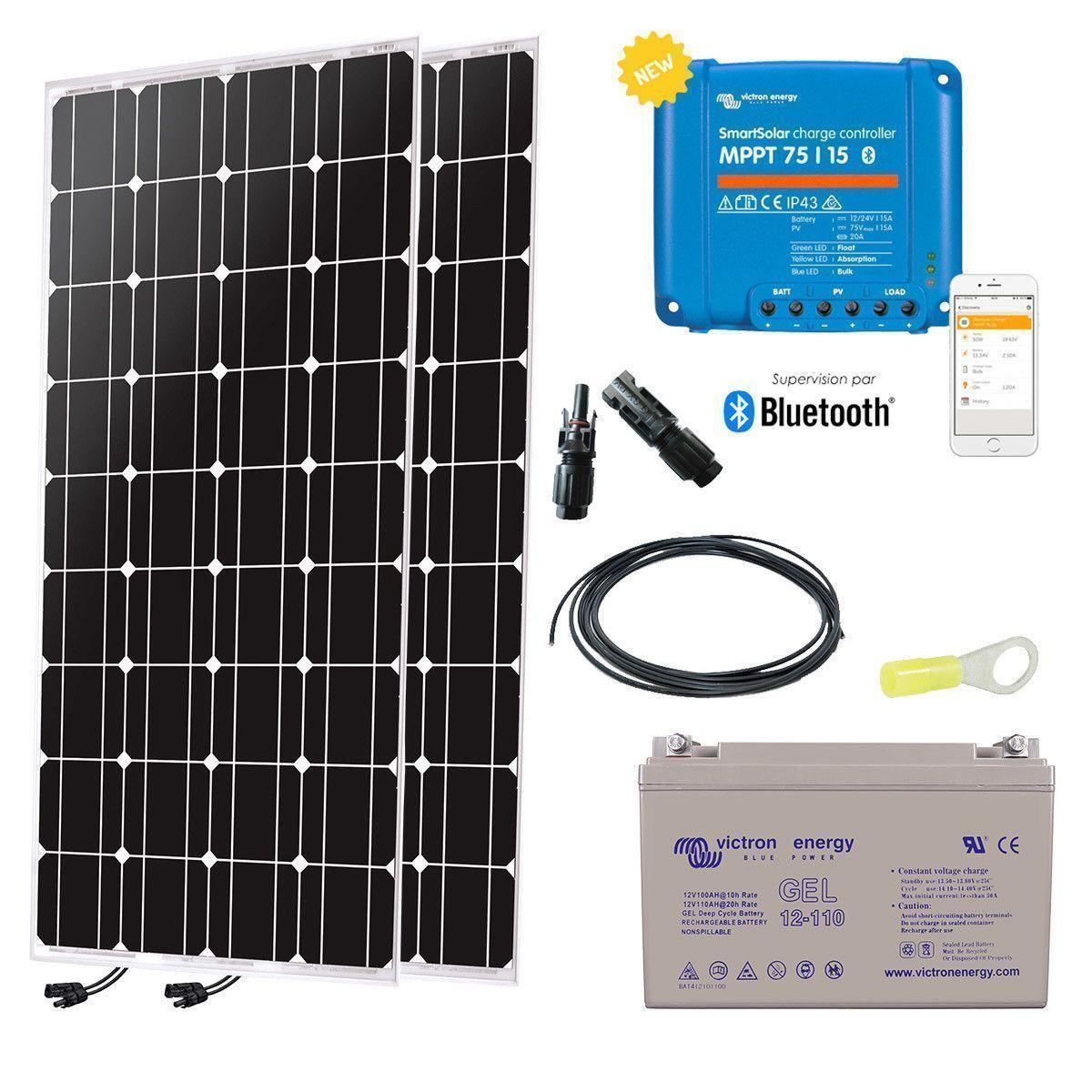 kit solaire 200w autonome 12v monocristallin. Black Bedroom Furniture Sets. Home Design Ideas