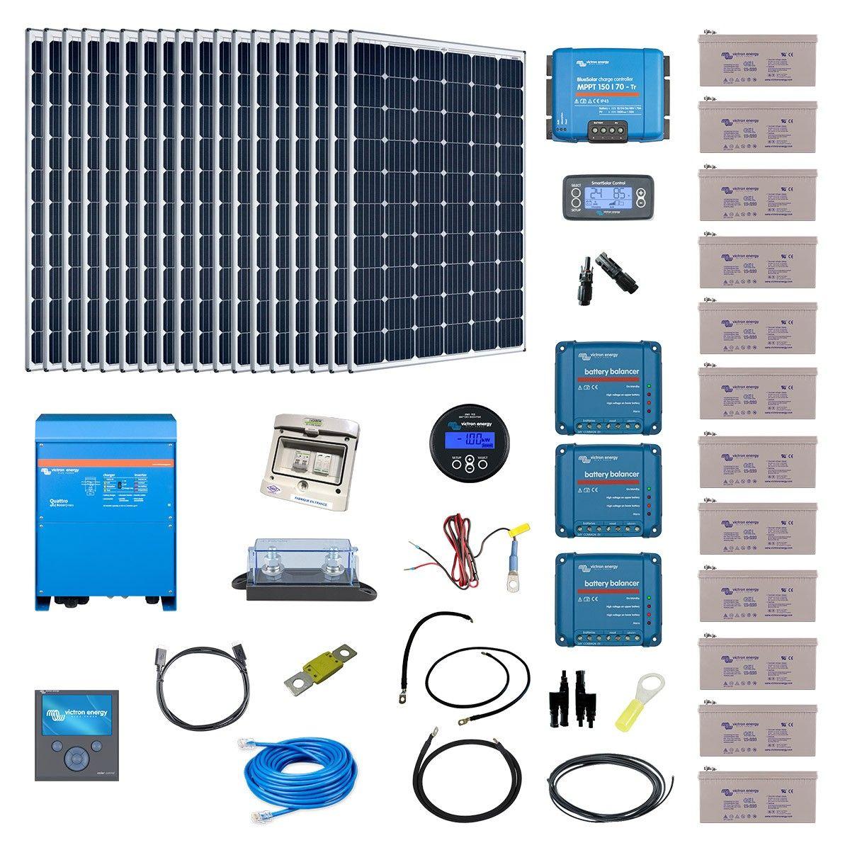 Kit solaire 5400w hybride quattro 230v 8000va - Kit solaire autonome 1000w ...