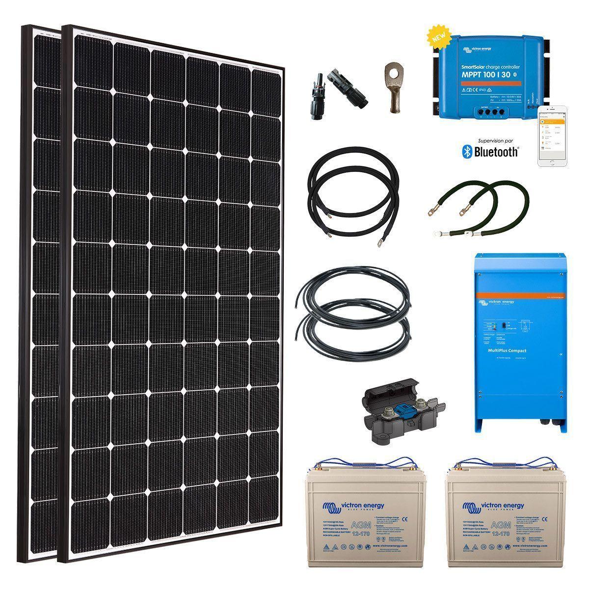 kit solaire 660w autonome hybride premium. Black Bedroom Furniture Sets. Home Design Ideas