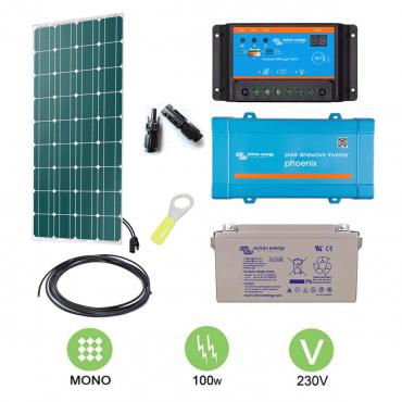 kit solaire 100w autonome mono convertisseur 230v. Black Bedroom Furniture Sets. Home Design Ideas