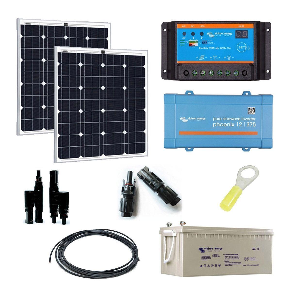kit solaire 160w autonome 12v convertisseur 230v 375va. Black Bedroom Furniture Sets. Home Design Ideas