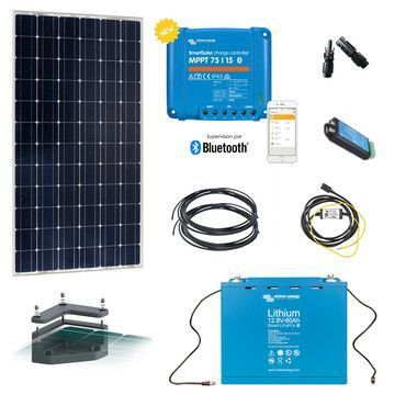 Kit solaire 175W Camping-car 12V Lithium avec fixation / Kit solaire Véhicule