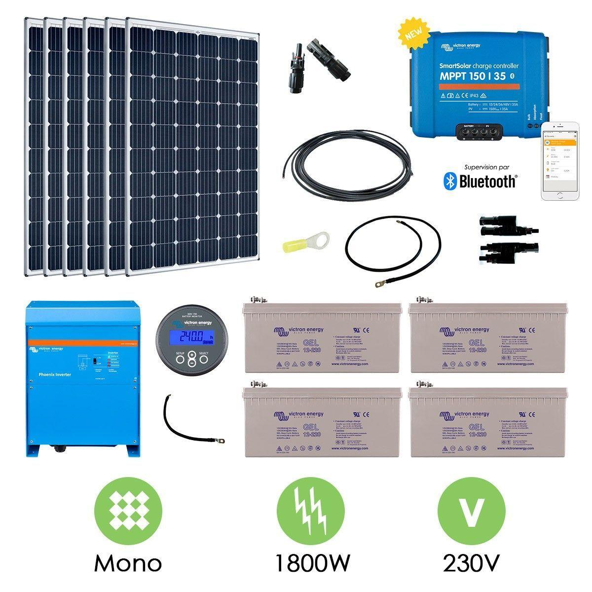 Kit solaire 1800w autonome convertisseur 230v 3000va - Kit solaire autonome 1000w ...