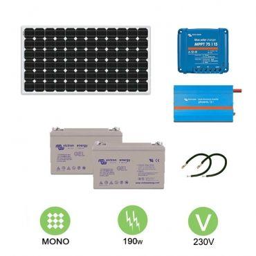 kit solaire autonome 190w 230v monocristallin. Black Bedroom Furniture Sets. Home Design Ideas