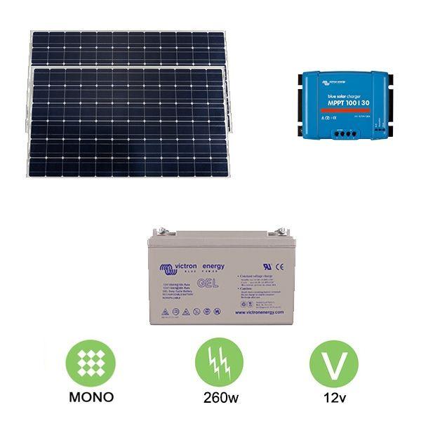 kit solaire autonome 260w 12v monocristallin ebay. Black Bedroom Furniture Sets. Home Design Ideas