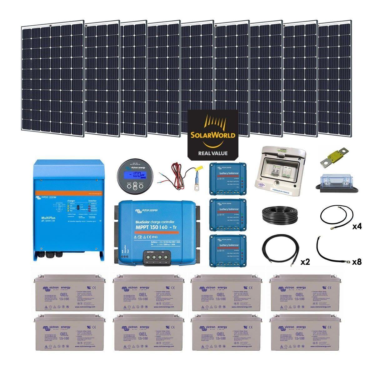 Kit solaire 2700w hybride multiplus 230v 5000va - Kit solaire autonome 1000w ...