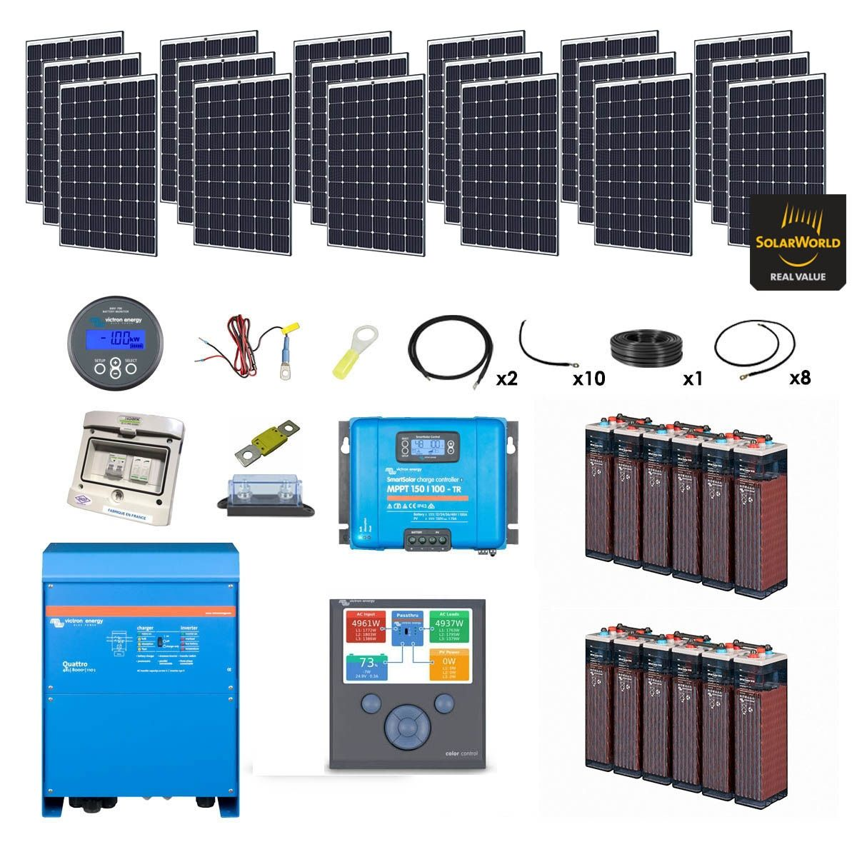 kit solaire 5400w batteries opzs hybride quattro 230v. Black Bedroom Furniture Sets. Home Design Ideas