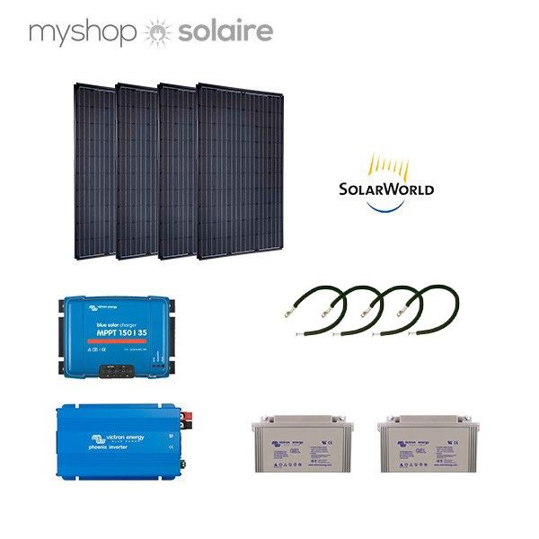 kit solaire 1120w autonome mono 230v hybride. Black Bedroom Furniture Sets. Home Design Ideas