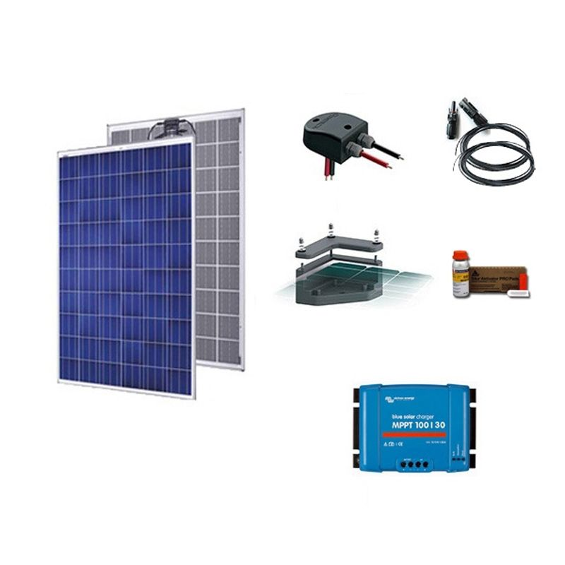 kit solaire 250w 12v camping car bateau anti chocs. Black Bedroom Furniture Sets. Home Design Ideas