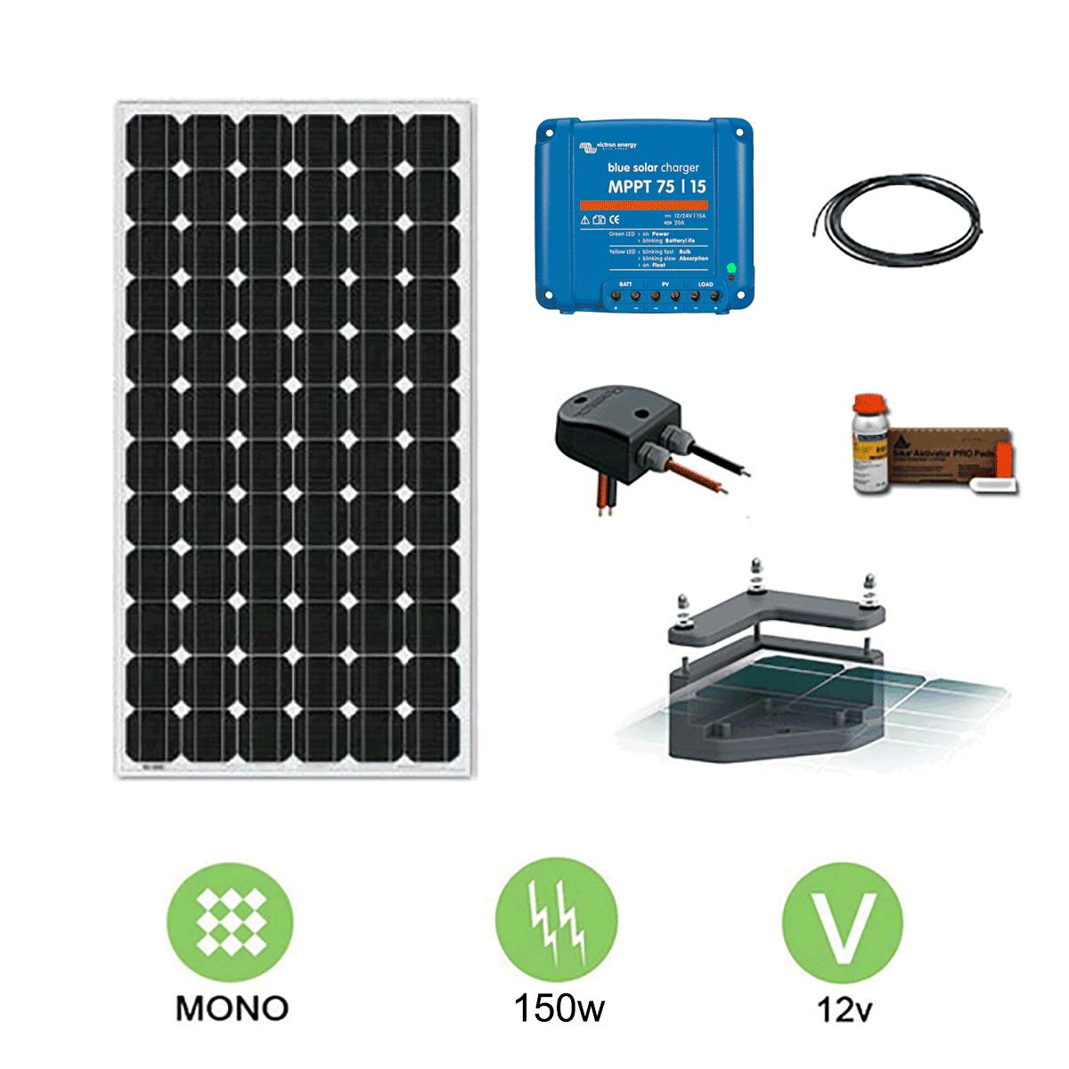 kit solaire camping car 150w 12v avec fixation. Black Bedroom Furniture Sets. Home Design Ideas