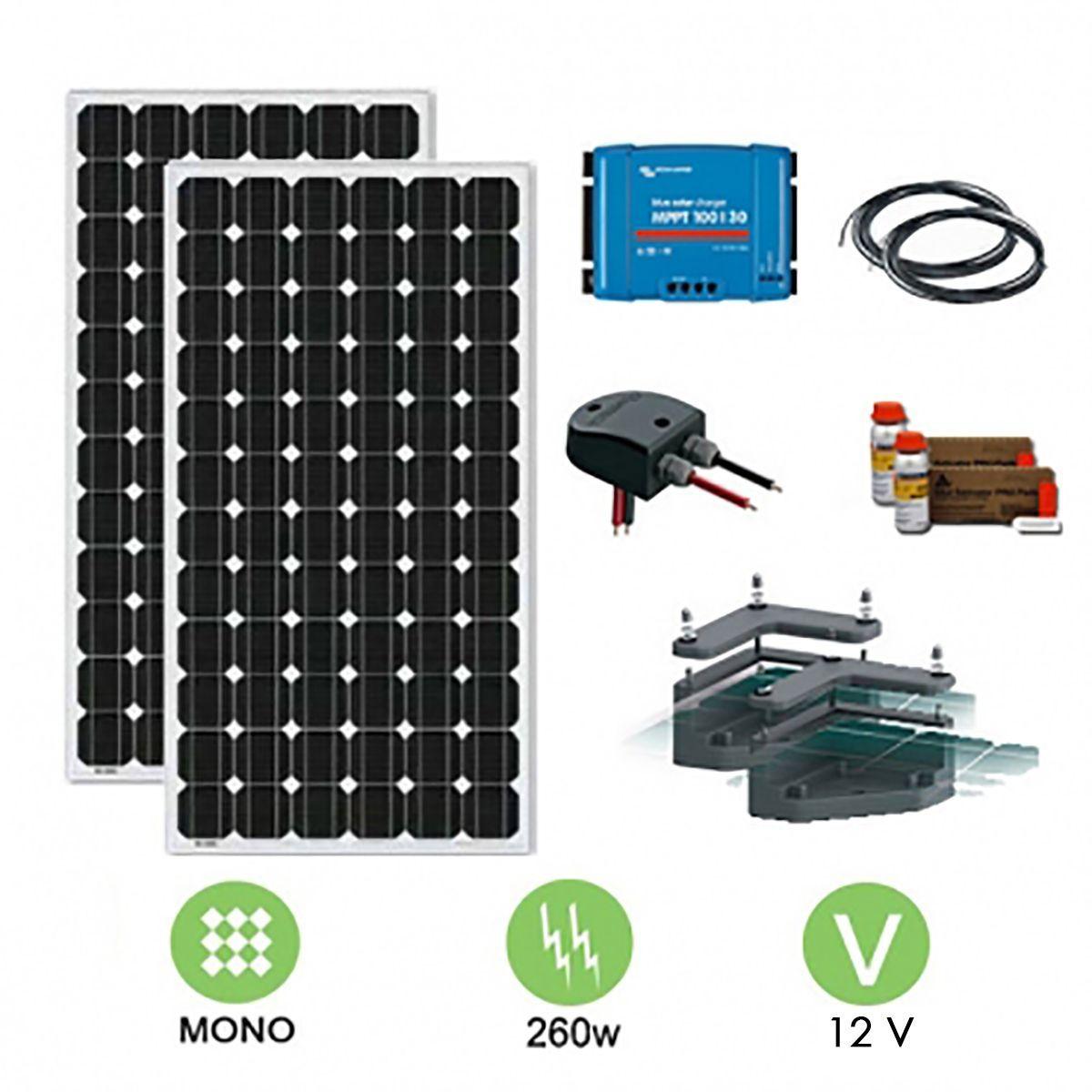 kit solaire camping car 300w 12 ou 24v avec fixation. Black Bedroom Furniture Sets. Home Design Ideas