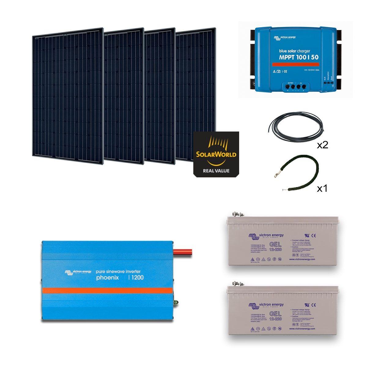 Kit solaire 1140w autonome mono convertisseur 230v 1200va - Kit solaire autonome 1000w ...