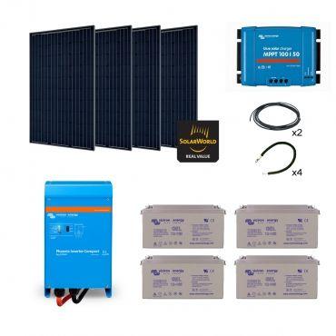 Kit solaire 1140w premium autonome mono convertisseur - Kit solaire autonome 1000w ...