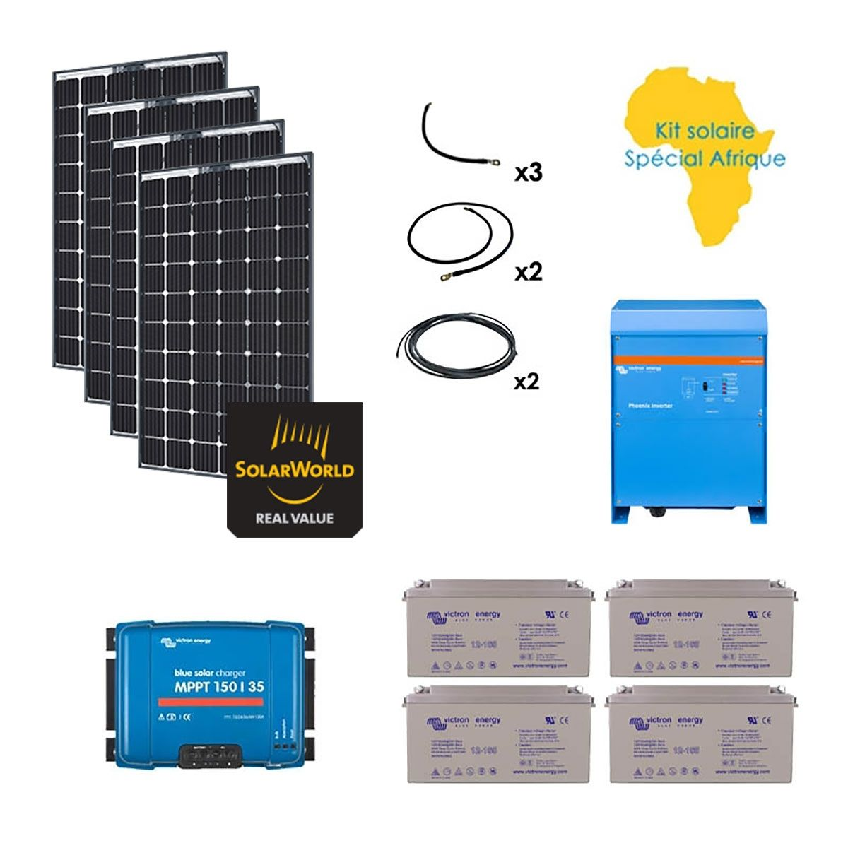 kit solaire 1120w autonome afrique premium. Black Bedroom Furniture Sets. Home Design Ideas