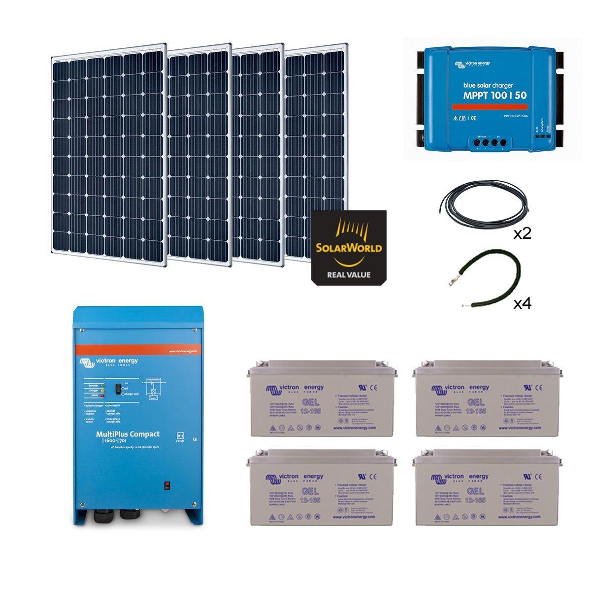 Kit solaire 1200w autonome hybride premium - Kit solaire autonome 1000w ...