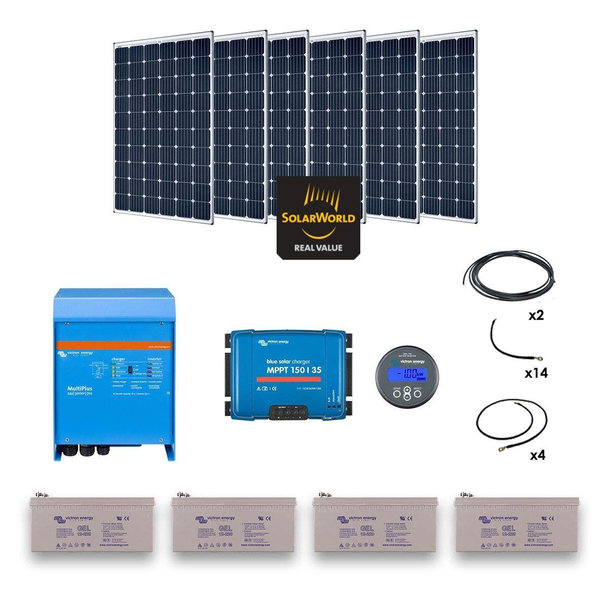 Kit solaire 1800w hybride multiplus 230v 3000va - Kit solaire autonome 1000w ...