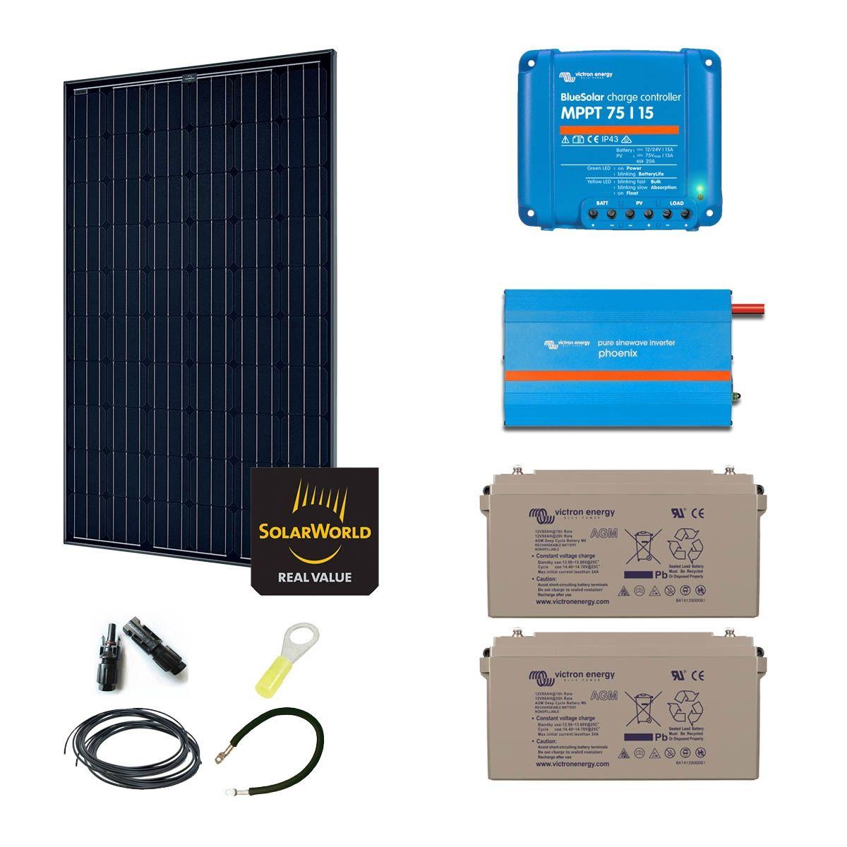 kit solaire 285w autonome mono convertisseur 230v 375va. Black Bedroom Furniture Sets. Home Design Ideas