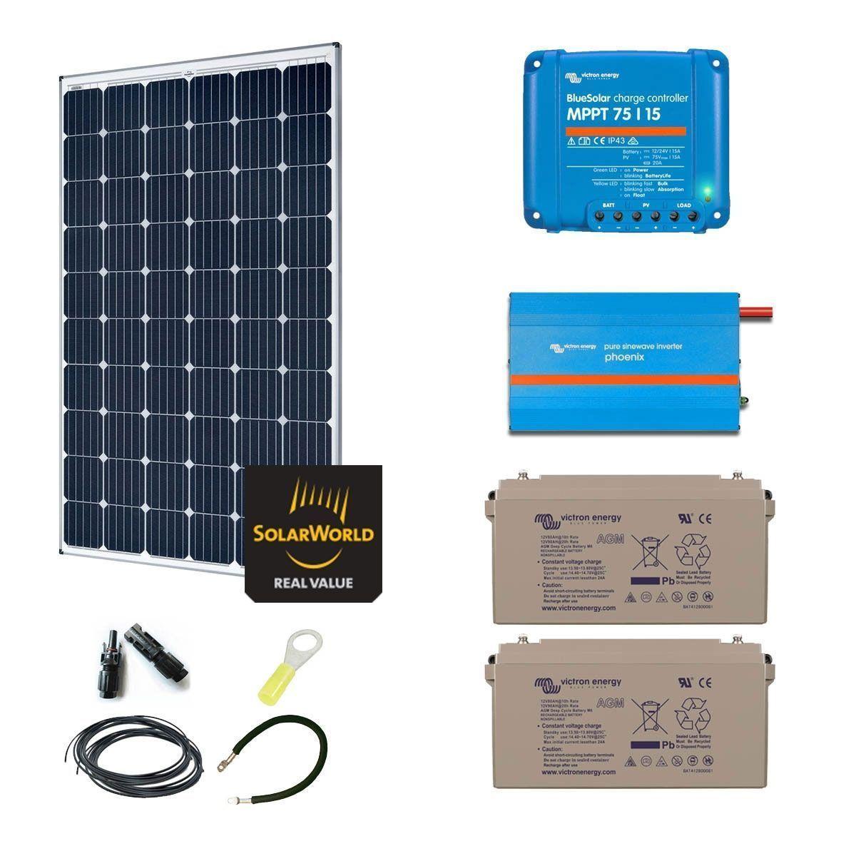 kit solaire 300w autonome convertisseur 230v 375va. Black Bedroom Furniture Sets. Home Design Ideas