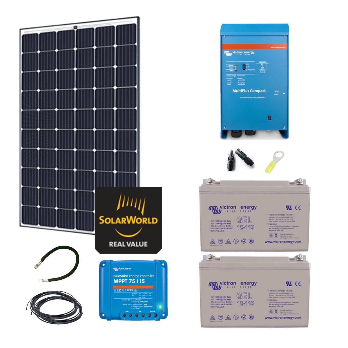 kit solaire 300w autonome hybride premium. Black Bedroom Furniture Sets. Home Design Ideas