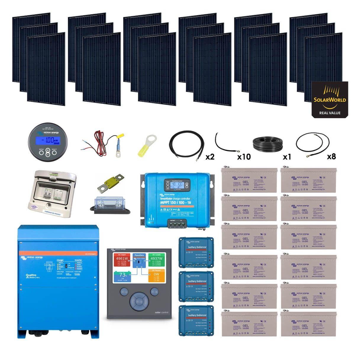Kit solaire 5130w hybride quattro 230v 8000va - Kit solaire autonome 1000w ...