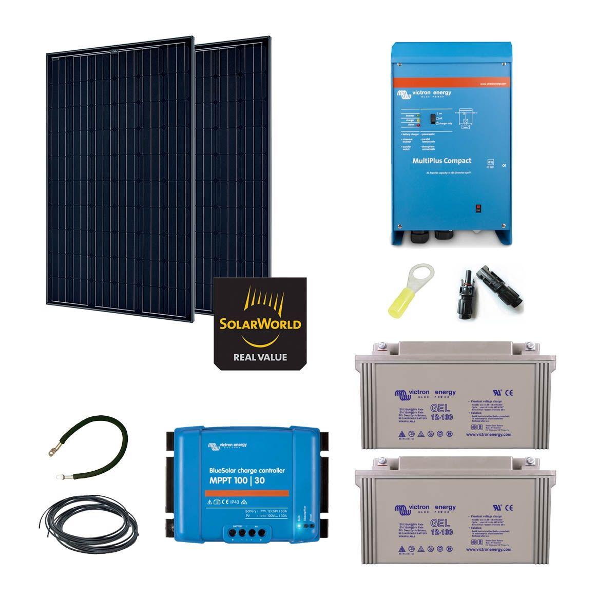 Kit solaire 570w autonome hybride - Kit solaire autonome 1000w ...